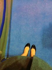 der blaue Teppich vor dem Funkhaus