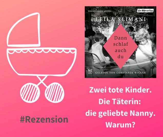 """Grafik: rosa Hintergrund, darauf das Hörbuchcover von """"Dann schlaf auch du"""", ein gezeichneter Kinderwagen"""